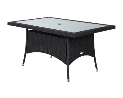 Small Rectangular Rattan Garden Dining Table in Black