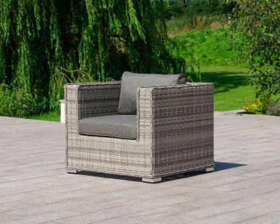 Ascot Rattan Garden Armchair in Grey