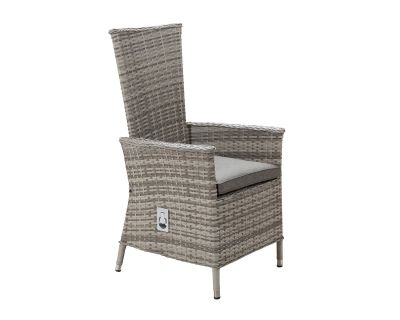 Cambridge Reclining Rattan Garden Chair in Grey
