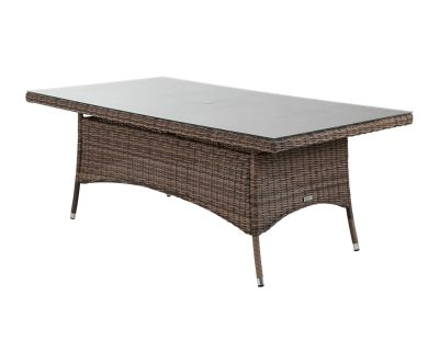 Rectangular Rattan Garden Dining Table in Premium Truffle Brown