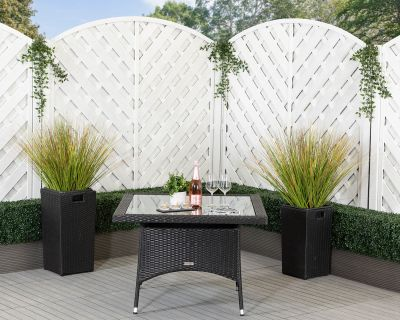 Square Rattan Garden Dining Table in Black