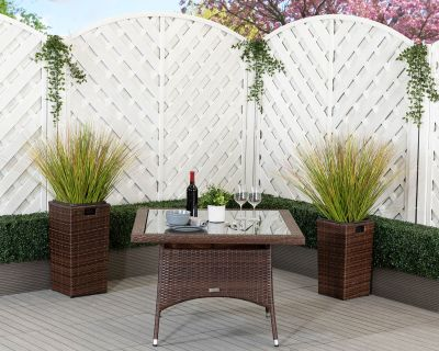 Square Rattan Garden Dining Table in Chocolate