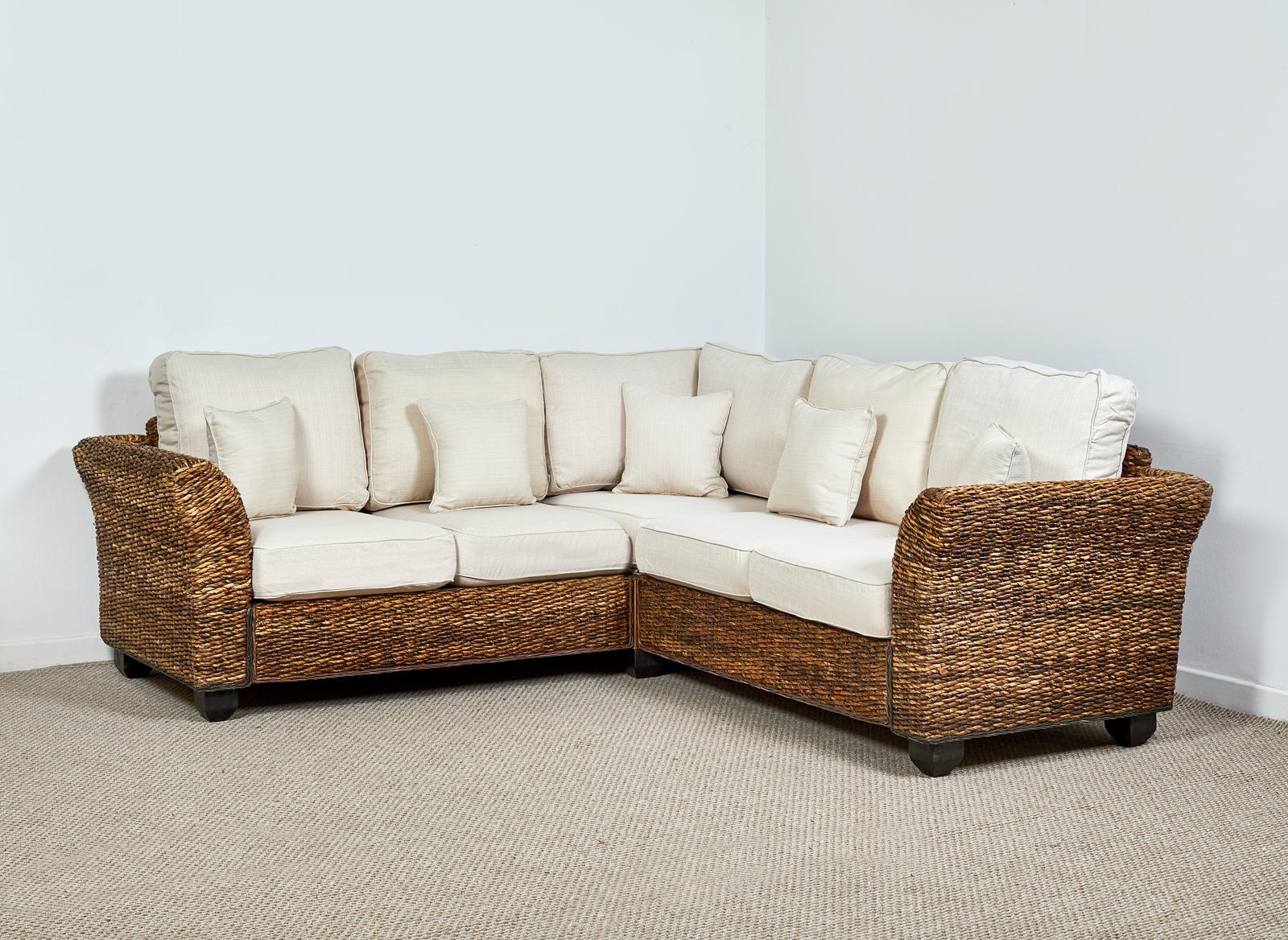 Kingston Abaca 216cm X 216cm Rattan Corner Sofa In Oatmeal Kingston
