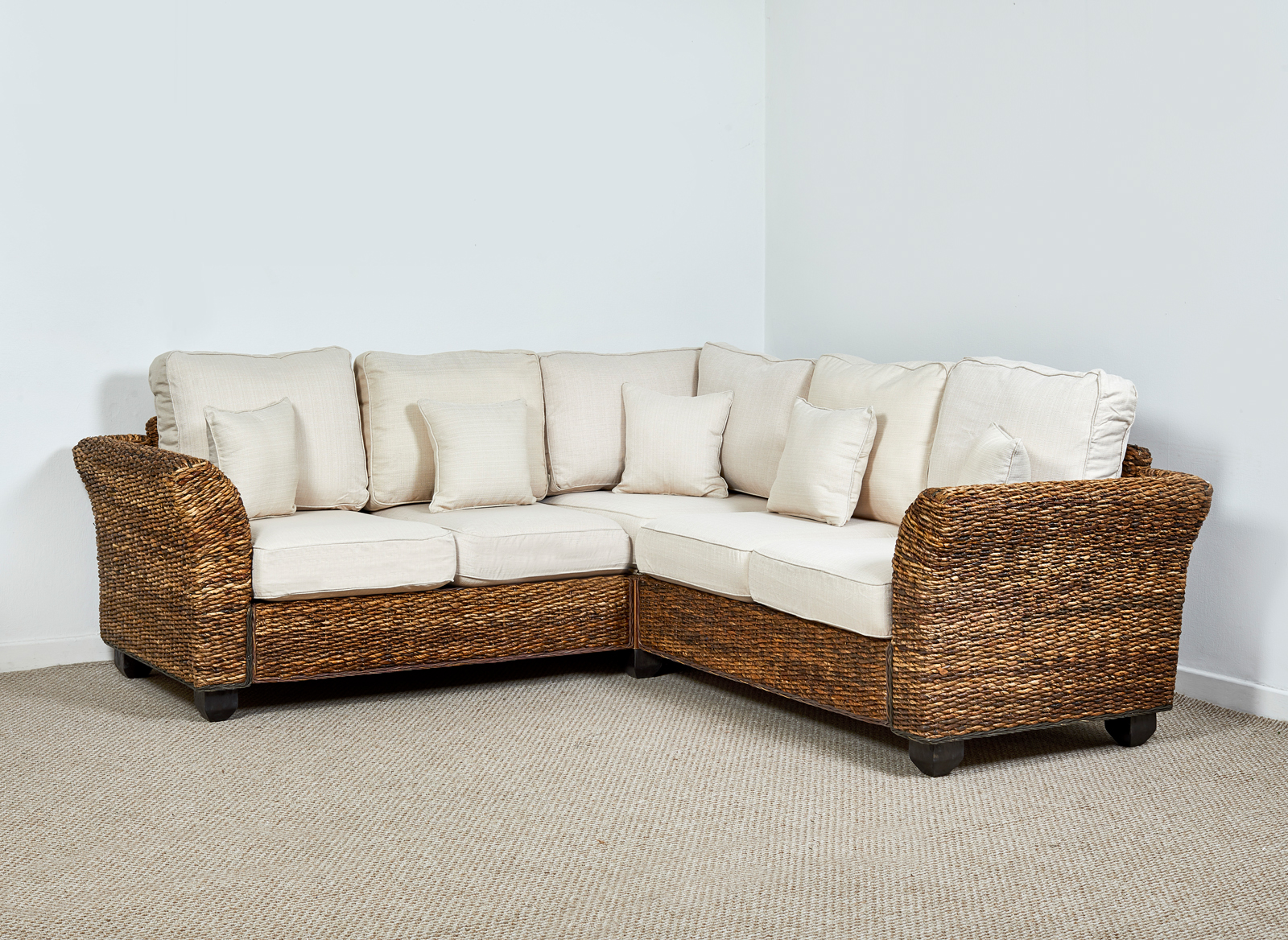 Rattan Conservatory 4 Seater Corner Sofa In Oatmeal Kingston Abaca 161cm X 216cm