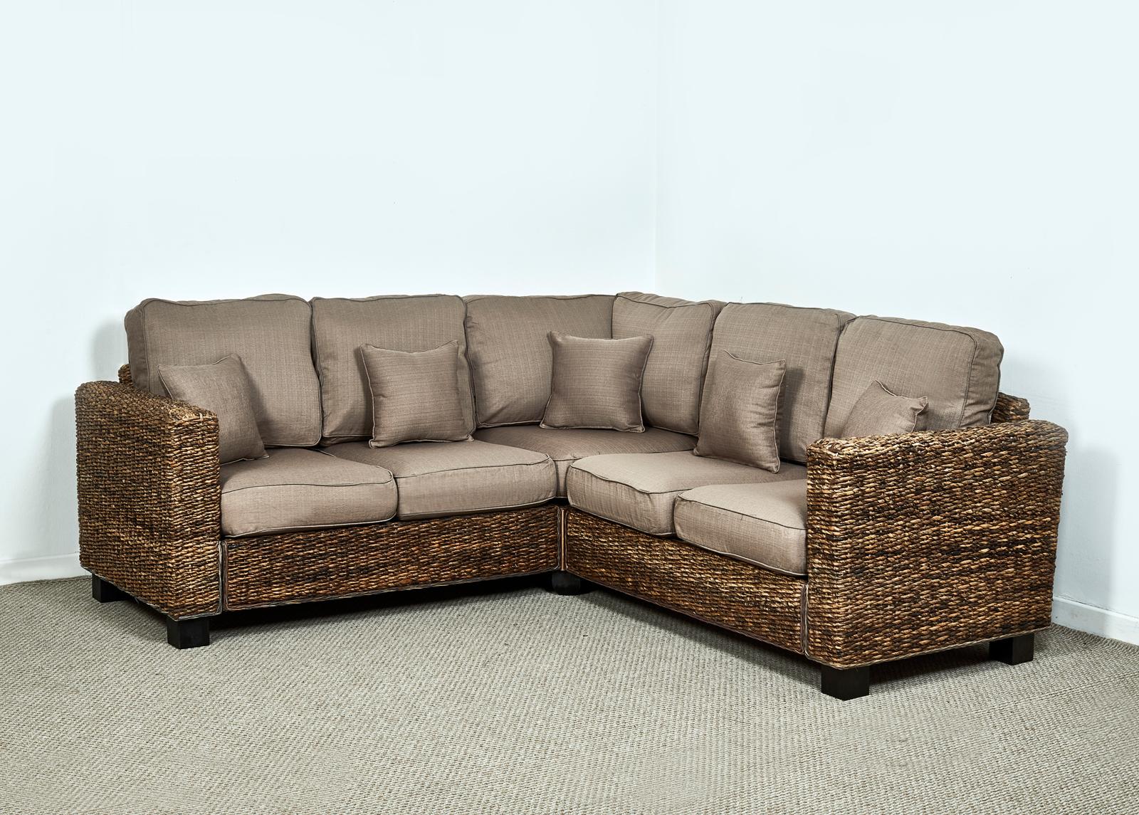 Kensington Abaca 264cm X 264cm Natural Corner Sofa In Autumn Biscuit