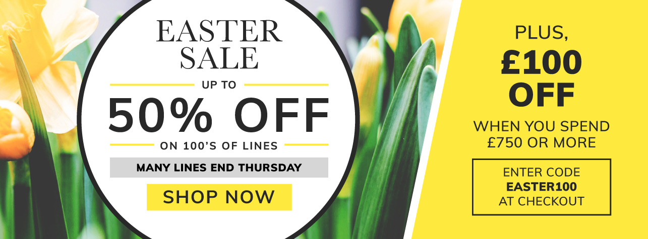 Easter Sale, Up to 50% off on 100s of lines