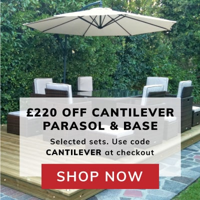 £220 off Cantilever parasol and base with selected products