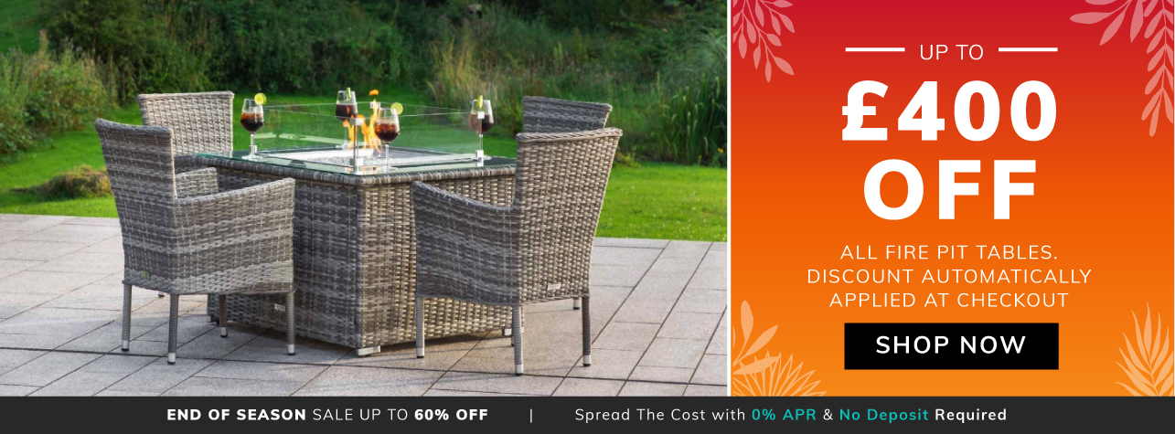 Extra £300 off all fire pit tables with code FIRE300