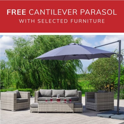 FREE cantilever parasol and base with selected sets