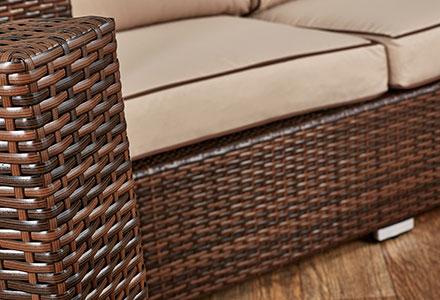 brown rattan sofa