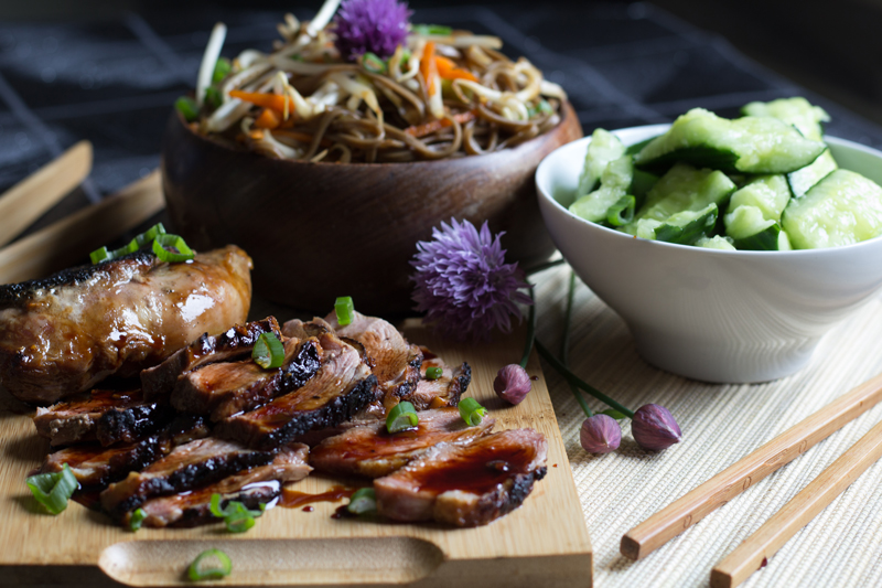 Duck teriyaki with soba noodle salad and smashed cucumber