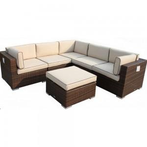 Rattan Corner Sofa with Ottoman