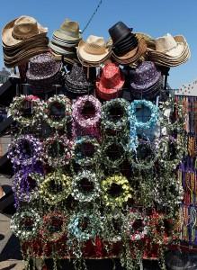 Beach hats at Viking Bay, Broadstairs, Kent. Warm spell.