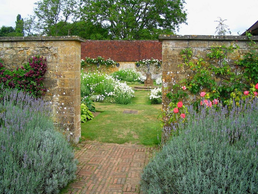Barrington Court Manor's enclosed gardens in Somerset, designed by Gertrude Jekyll. Peace