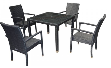 Rio 4 Chairs & Open Leg Square Table Set in Black