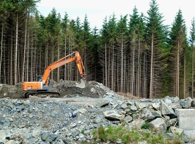 Construction work in Forrest Estate, near Drumbuie, Dumfries and Galloway. Garden dreams
