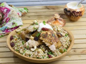 Fragrant roast chicken with jewelled grains