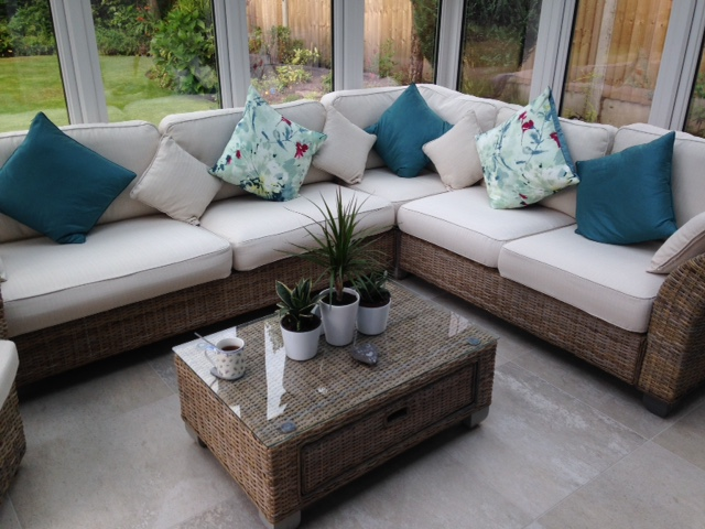 Cushion covers in a spring/summer colour can be changed to a warmer hue for the autumn/winter period. all year round. sunroom
