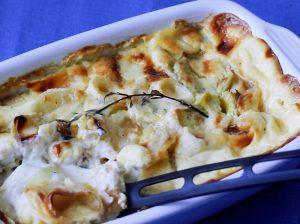 Leek and potato dauphinoise