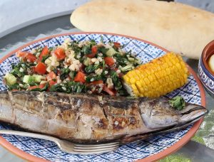 Great grilled mackerel with 7 grain tabbouleh