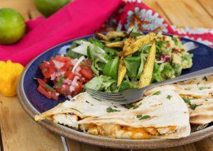 Spicy chicken quesadilla