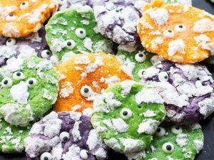 Chewy Halloween monster cookies