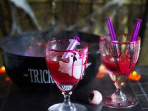 Halloween punchbowl with optional vodka jelly shots