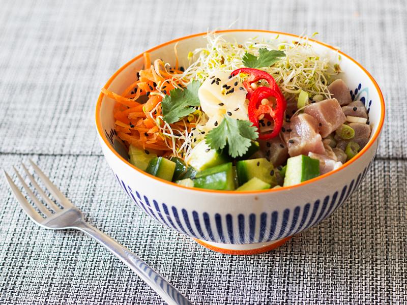 Poke bowl recipe; marinated tuna with buckwheat and pickled ginger