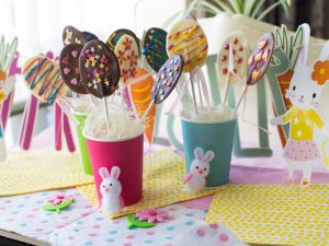 Easter chocolate lollipops; Easter fun for a rainy day